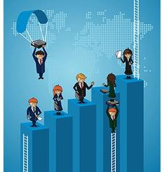 Business world map teamwork steps people vector image
