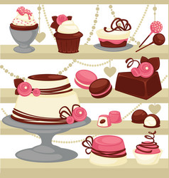 candy and dessert cake or ice cream cookie vector image