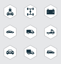 Car icons set collection of truck crossover vector