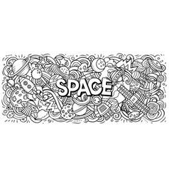 Cartoon cute doodles space word vector