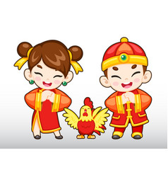 chinese boy and girl rooster vector image