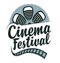 cinema festival poster with film strip reel vector image