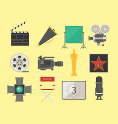 cinema movie making tv show tools equipment vector image vector image