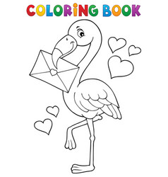 coloring book flamingo with love letter vector image