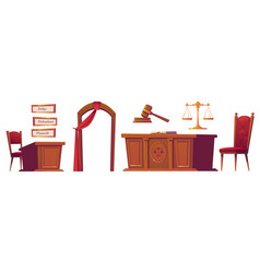 courtroom objects set isolated on white background vector image