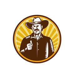 Cowboy Thumbs Up Sunburst Circle Woodcut vector