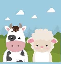 Cute sheep and cow in the field landscape vector