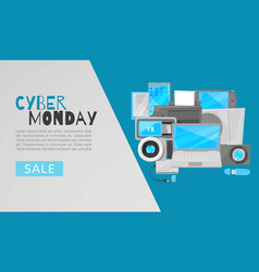 cyber monday big sale web template with vector image