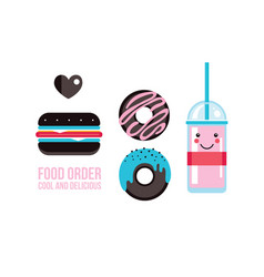 Delicious hamburger donuts and drink food banner vector