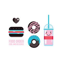 delicious hamburger donuts and drink food banner vector image
