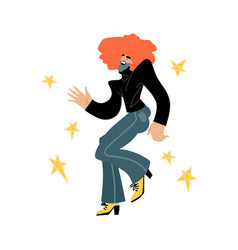 Disco star funny cartoon dancing man vector