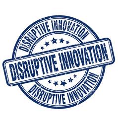 Disruptive innovation blue grunge stamp vector
