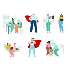 doctors and patients diverse medical workers vector image
