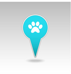 Dog paw pin map icon map pointer map markers vector