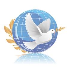 Dove of peace near globe vector