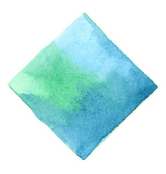 Emerald green and deep blue square watercolor vector