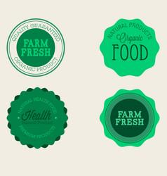 Farm badge set of fresh organic elements vintage vector
