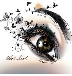 Fashion with hand drawn female eye beautiful art vector