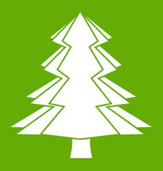 Fir tree icon green vector