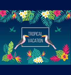 floral summer background with tropical bird toucan vector image