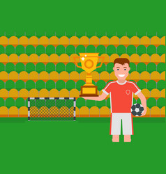 football champion with golden trophy vector image