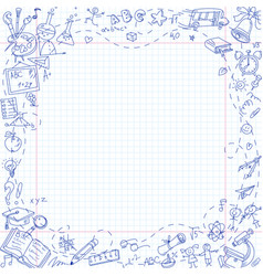 freehand drawing school stationery items vector image