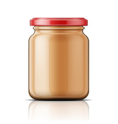 Glass jar with peanut butter vector image