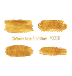 Gold paint brush strokes set design vector