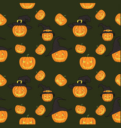 halloween seamless pattern endless background wit vector image