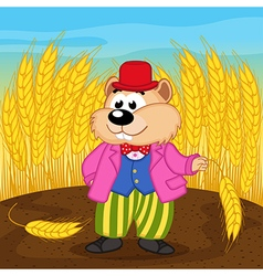 Hamster near wheat field vector