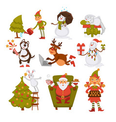 happy new year characters resting at beach santa vector image