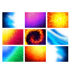 hexagon mosaic backgrounds set colorful vector image