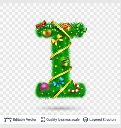 holiday decorative letter of fir tree with toys vector image