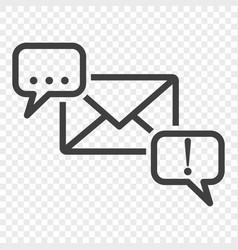 Icon of correspondence through a letter between vector