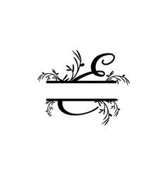 initial e decorative plant monogram split letter vector image