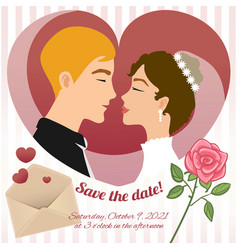 Invitation card for wedding with young couple vector