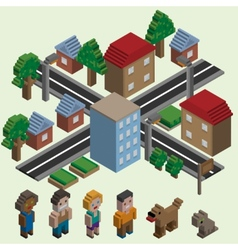 Isometric pixel city vector image
