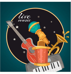 live music party or karaoke club logo or vector image
