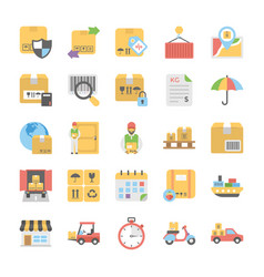 logistic delivery flat icons pack vector image