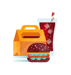 Lunch bag with burger and soda drink healthy food vector