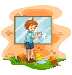 Man cleaning window at home vector