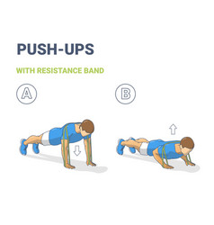 Man doing push ups home workout exercise vector