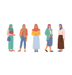 modern muslim women fashion style uae citizen vector image