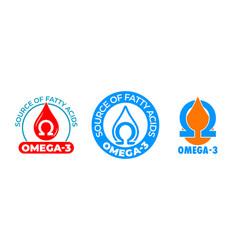 Omega 3 icon vitamin and fish oil drop fatty acid vector