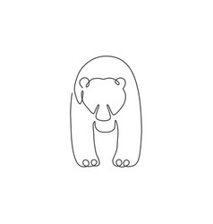 one single line drawing cute grizzly bear vector image