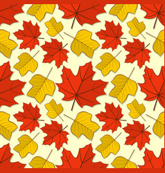 pattern with maple and tulip poplar leaves vector image