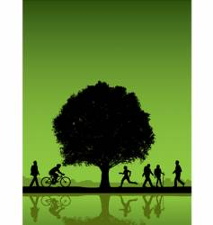 People under a tree background vector