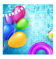 Pool birthday party advertise flyer banner vector