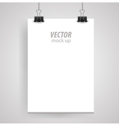 Poster clothespins on a white sheet for your vector image