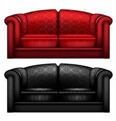 red and black leather sofa vector image vector image